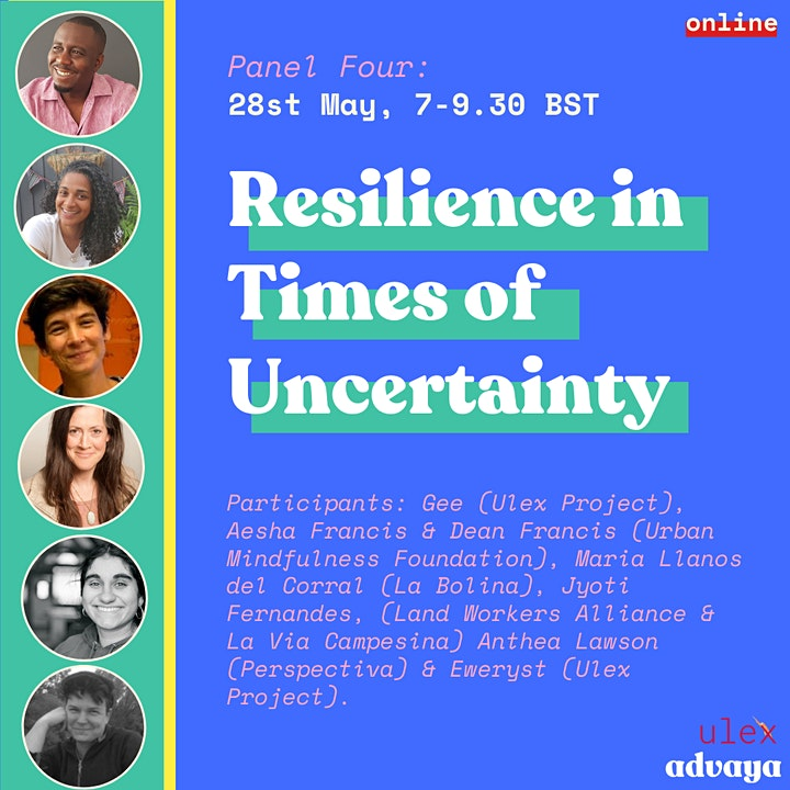 Promotional flyer with information about session four on Resilience in Times of Uncertainty with photos of speakers and event information.