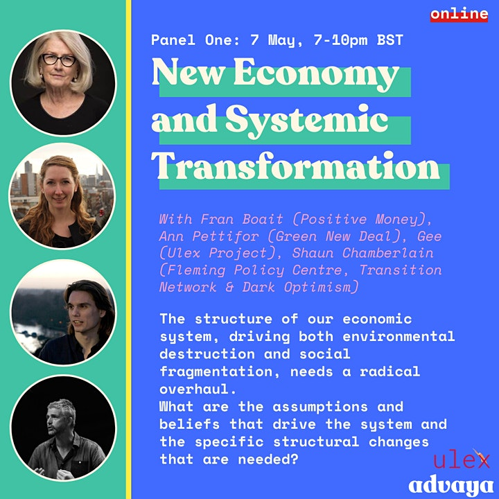 Promotional flyer with information about session four on New Economy and Systemic Transformation with photos of speakers and event information.