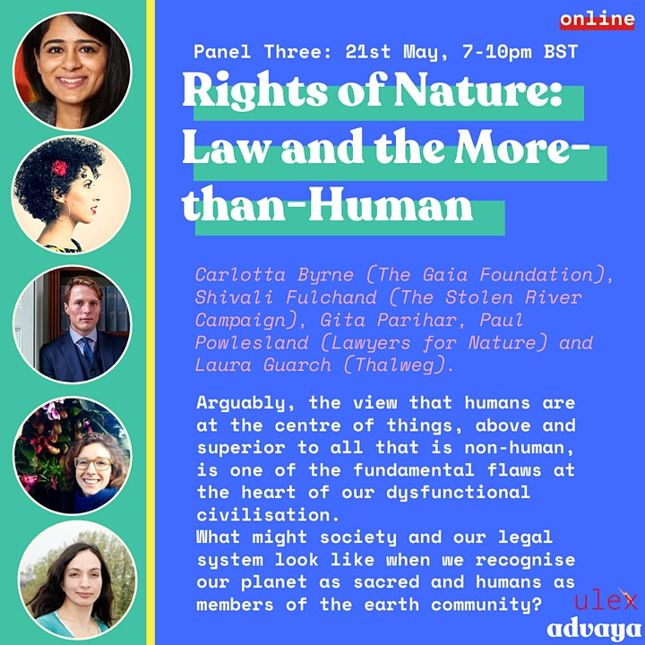 Promotional flyer with information about session three on Rights of Nature - Law and the more-than-human with photos of speakers and event information.