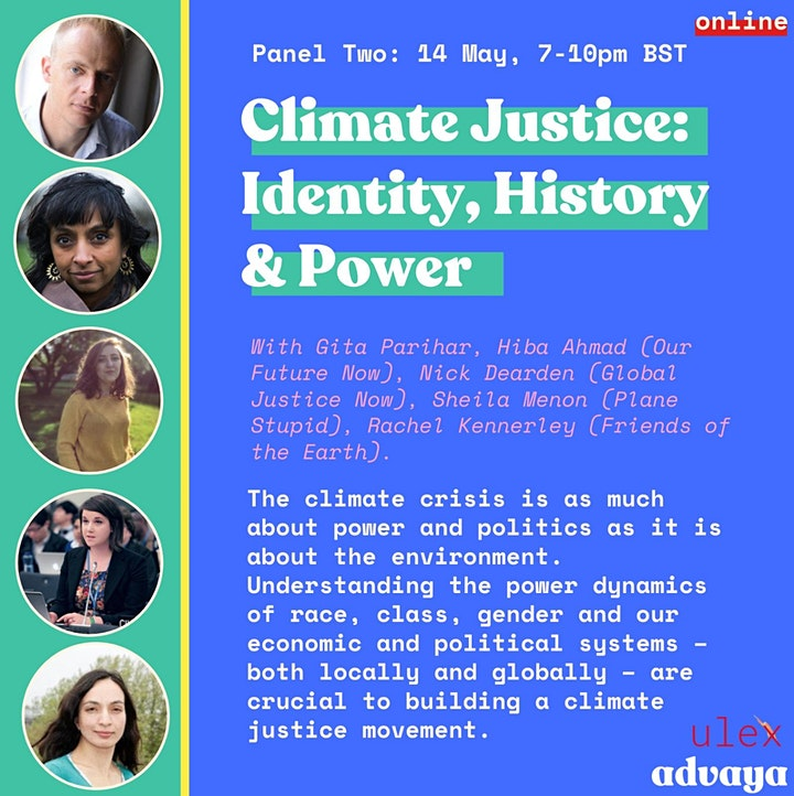 Promotional flyer with information about session two on Climate Justice: Identity, history and power with photos of speakers and event information.