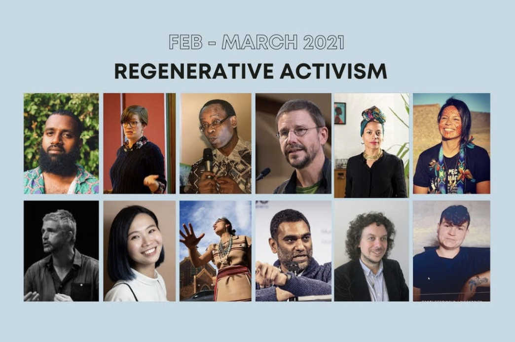 Event flier with photos of key speakers